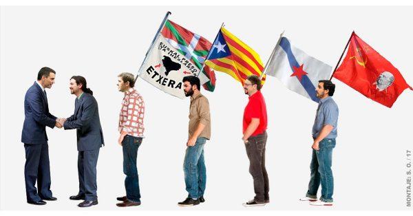 En la imagen del autor del texto, José Basaburua, se ve El líder de las izquierdas en España y secretario general del PSOE, Pedro Sánchez (i) saluda al líder de Podemos. Lasvocesdelpueblo